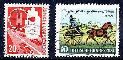 GERMAN OLD 1953 20pf EXHIBITION + 1 FREE STAMP. VF USED. CAT £12.50.  #B5006
