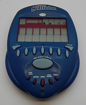 Radica Big Screen Solitaire Handheld Electronic Travel Game 2000 Blue R12387