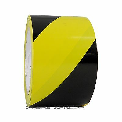 1 Roll VINYL FLOOR STRIPED SAFETY WARNING MARKING TAPE BLACK//WHITE 2INCH x 54FT