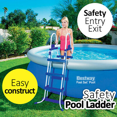 """BESTWAY Pool Ladder For Pool 1.32M 52"""" 1.22M 48"""" 1.07M 42"""" High Removable Steps"""
