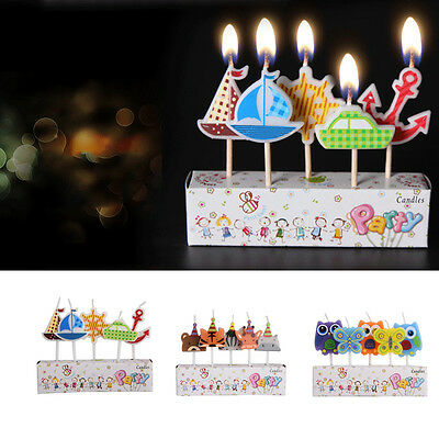 5Pcs Cute Cartoon Party Birthday Cake Candles Kids Gift Craft Decor Romantic