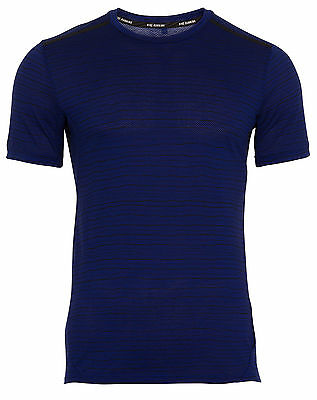 Nike Dri-FIT Cool Tailwind Stripe Blue Mens Running T-shirt
