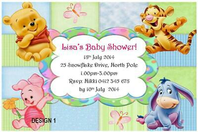 20 x WINNIE THE POOH GIRL BABY SHOWER PERSONALISED PARTY INVITATIONS + MAGNETS
