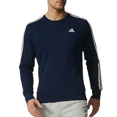 Adidas Essentials 3 Stripes Sweatshirt Shirt Pullover Herren B45731 Blau