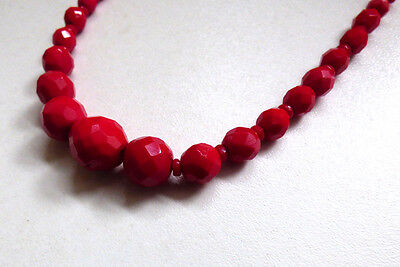 Vintage 1930s 30s Art Deco Czech Red Faceted Glass Bead Necklace