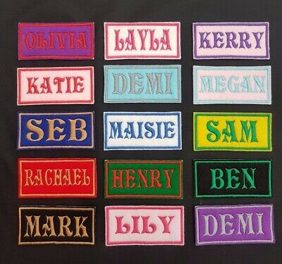 Personalised Embroidered Name Patch Badge (Rectangular) Iron on or sew