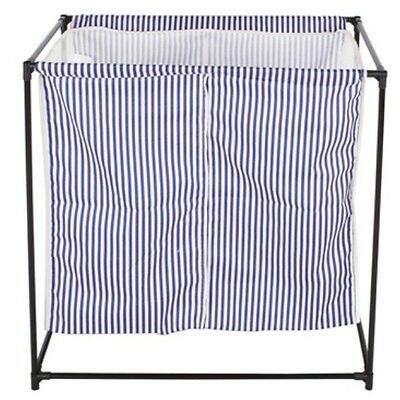 StorageManiac 2 Compartment Portable Laundry Hamper Blue and White Stripes New