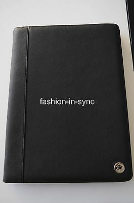 Oroton Melanie A4 Folio Compendium Organiser Notebook Black Leather RRP $295