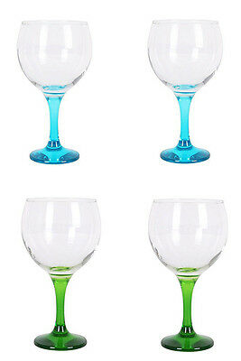 Box of 4 Gin and tonic cocktail balloon glasses 650ml BLUE + GREEN foot £19.99!!