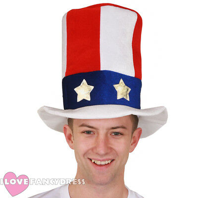 Uncle Sam Top Hat Usa 4Th July Fancy Dress Party American Independence Day