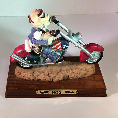 Harley Davidson Hog Figure Pig Motorcycle Decor Collectible Statue Biker Trophy