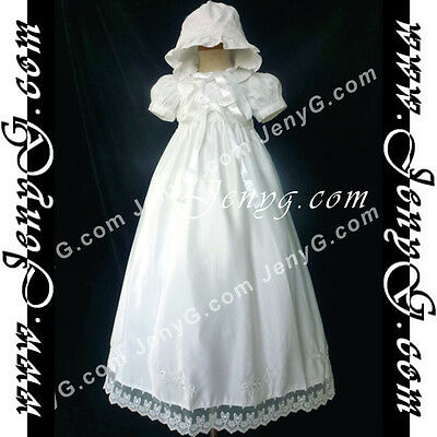 5804 Baby Christening Baptism First Holy Communion Embroidery Gown Dress Bonnet