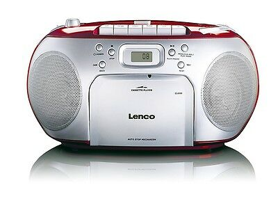 Lenco SCD-420 Rot Tragbarer CD-Player und Kassettendeck, LCD Display, NG153 C