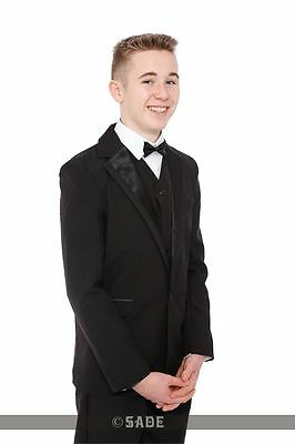 Boys Black Tuxedo Suit 5 Piece Prom Cruise Party James Bond Tux Age 1-15 Years