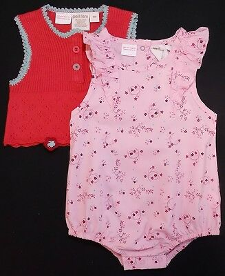 Petit Lem baby girl romper tank top outfit set 9 month bnwts