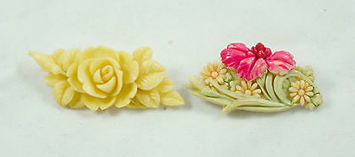2 vintage celluloid brooches: Made in Japan, floral design, brooch