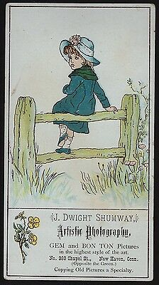 SUPER Rare Kate Greenaway Advertising Trade Card 1880 Photographer New Haven CT