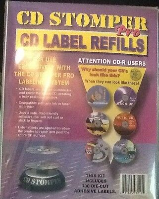 Cd Stomper Pro Labeling System Cd  Label Refills 100 Die Cut Labels NEW