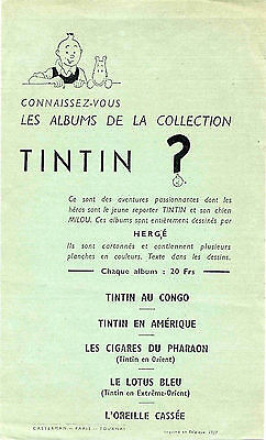 Hergé Tintin page publicitaire 1937 TBE