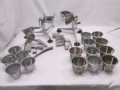 2 Saladmaster 1 Grind O Mat Stainless Steel Food Processers with 15 Cones