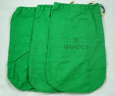 Lot of 3 vintage 70s 80s green felt Gucci drawstring shoe bags