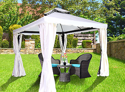 Aluminum SoftTop Gazebo Rome - 10x12, Privacy Curtains + Mosquito Netting Incld