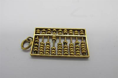 Vintage 14k Solid Gold Chinese Abacus Charm Pendant And Tiger Eye Pin 3.5g