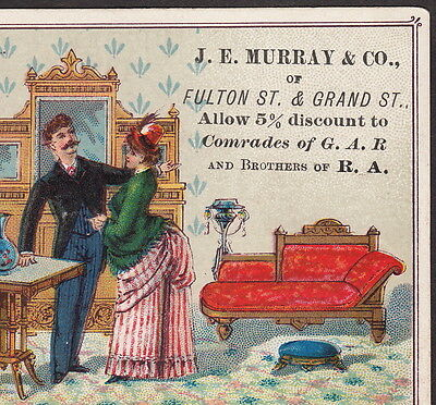 Murray Furniture Store, 470 Fulton St Brooklyn 201 Grand St New York 1800's Card