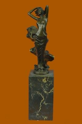 Signed Real J.Erte Sexy Woman With Flai Statue Figurine Bronze Sculpture Figure