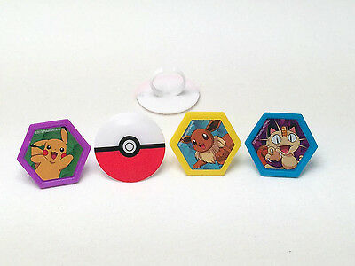 12 Pokemon Rings Cupcake Toppers Decorations Party Favors Picachu