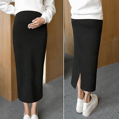 Pregnant Women Pencil Skirt Belly Support Long Skirts Leisure Maternity Clothing