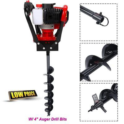 "52Cc Gas Power Earth One Man Post Fence Ice Hole Digger W/ 4"" Auger Drill Bits"