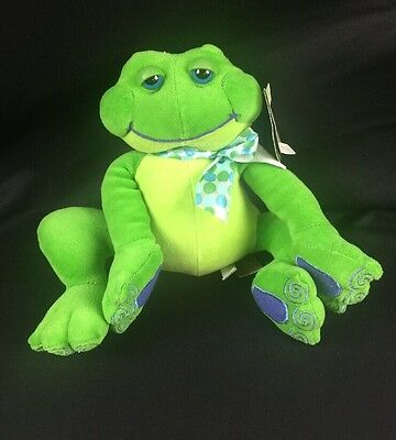 """First and Main Thad Polz Green Frog Rattle Plush Beanie Doll 7"""" #5274 Free Ship"""