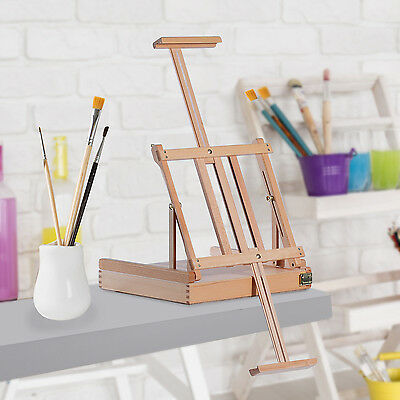 HOMCOM Adjustable Wooden Table Easel Art Painting Drawing Stand W/ Storage Box