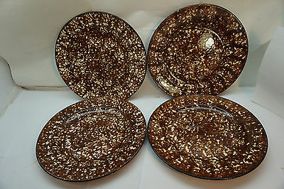 Vintage Stangl Pottery Town And Country Dinner Plates Brown Spongeware Set 4