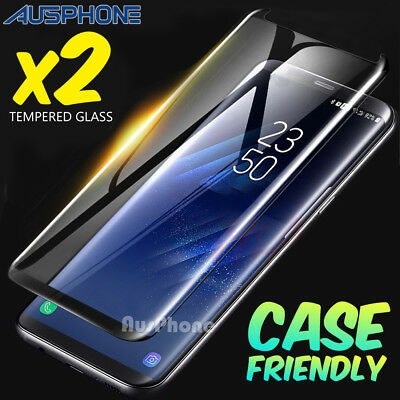 2x Full Coverage 5D Tempered Glass Protector For Samsung Galaxy S8 Plus S7 Edge