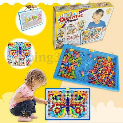 AU 2X Children Puzzle Peg Board with 296 Pegs For Kids Educational Toys DIY Gift