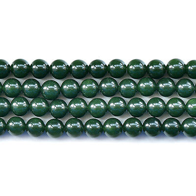 "Dark Green Malaysian Jade Round Loose Beads 15""6mm 8mm 10mm 12mm"