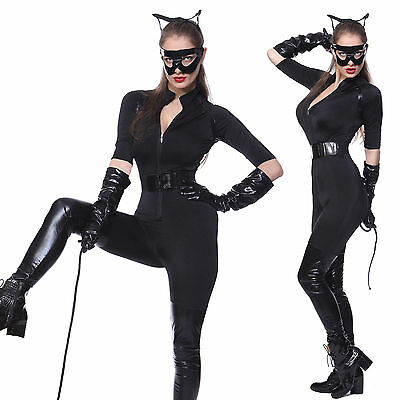 Cosplay Costume Carnevale Donna The Dark Knight Rises Catwoman Catsuit Nero