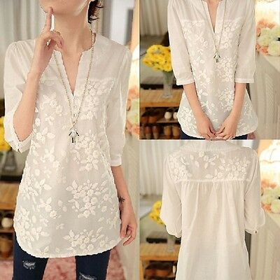 Fashion Ladies Long Sleeve Shirt Casual Lace Blouse Loose Cotton Tops T Shirt