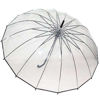 Transparent Clear Dome Automatic Rain Umbrella Large Parasol Wedding Party