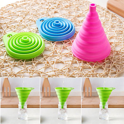Safety Silicone Funnel Collapsible Kitchen Fold Heat Resistant Oil Water Liquid