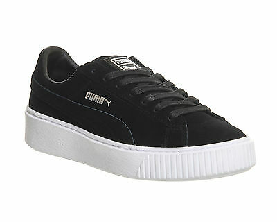 Puma Suede Platform BLACK WHITE Trainers Shoes