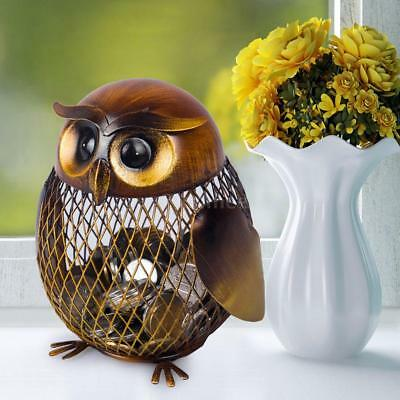 Tooarts Owl Shaped Metal Coin Bank Box Handwork Crafting Art Home Crafts G9J8