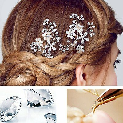 Women Wedding Party Bride Bridal Rhinestone Flower Pearl Hairpin Hair Clip Comb