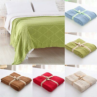 Super Soft Thick Warm Cotton Crocheted Knitted Wool Bedding Throw Blanket Queen
