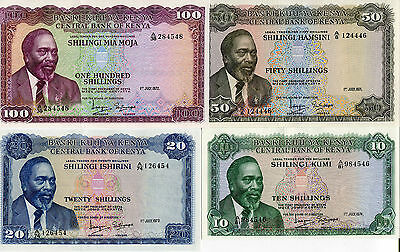 Kenya Set 4 Pcs 10 20 50 100 Shillings 1971 1972 1973 1974 P 7 8 9 10 Unc