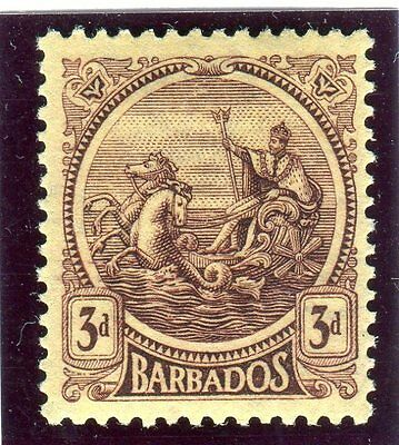 "BARBADOS-1921-4 3d Purple & Pale Yellow "" A OF CA MISSING FROM WMK"" Sg 213a"