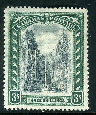BAHAMAS-1901-3 3/- Black & Green.  A mounted mint INVERTED/REVERSED WATERMARK