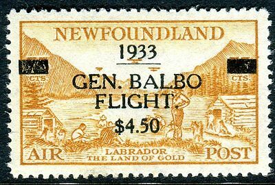 NEWFOUNDLAND-1933 Balbo Transatlantic Flight $4.50 on 75c Yellow Brown MM Sg 235